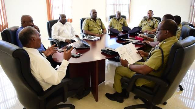Cabinet members of the Nevis Island Administration headed by Premier of Nevis Hon. Vance Amory in meeting with members of the Royal St. Christopher and Nevis Police Force headed by Commissioner Ian Queeley at the Premier's office at Pinney's on October 28, 2018